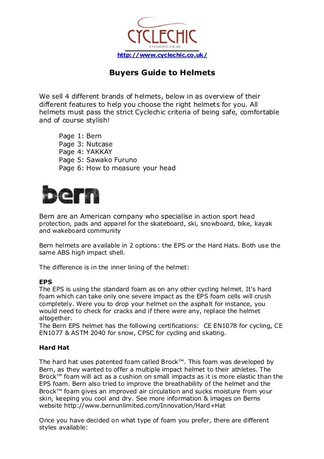 http://www.cyclechic.co.uk/ Buyers Guide to Helmets We sell 4 different brands of helmets, below in as overview of their d...