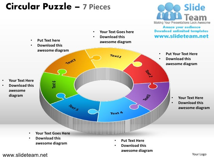 Circular Puzzle – 7 Pieces                                             •   Your Text Goes here                            ...