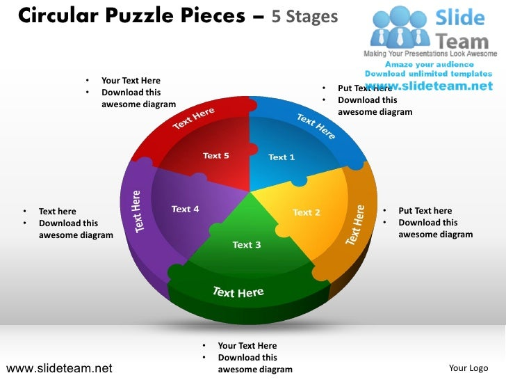Circular Puzzle Pieces – 5 Stages               •   Your Text Here               •   Download this                        ...