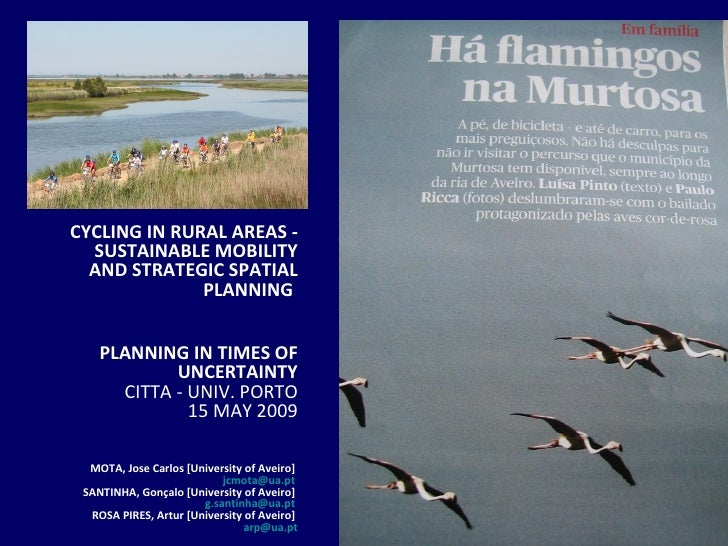 CYCLING IN RURAL AREAS - SUSTAINABLE MOBILITY AND STRATEGIC SPATIAL PLANNING   PLANNING IN TIMES OF UNCERTAINTY CITTA - UN...