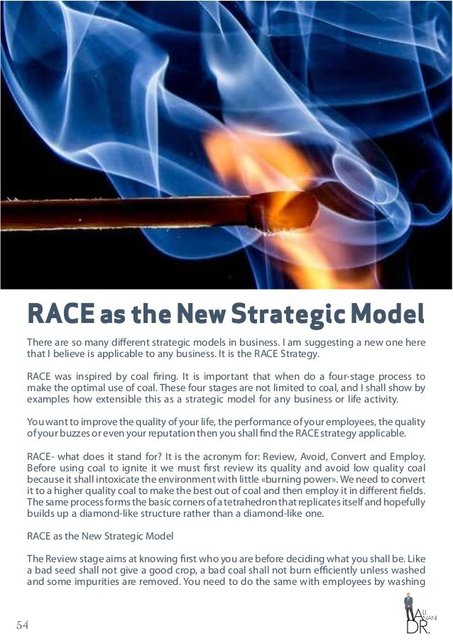 54 RACEastheNewStrategicModel There are so many different strategic models in business. I am suggesting a new one here tha...