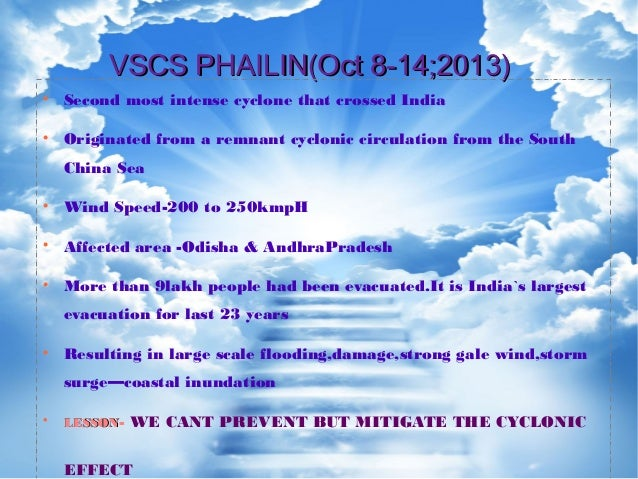 VSCS PHAILIN(Oct 8-14;2013)VSCS PHAILIN(Oct 8-14;2013)  Second most intense cyclone that crossed India  Originated from ...