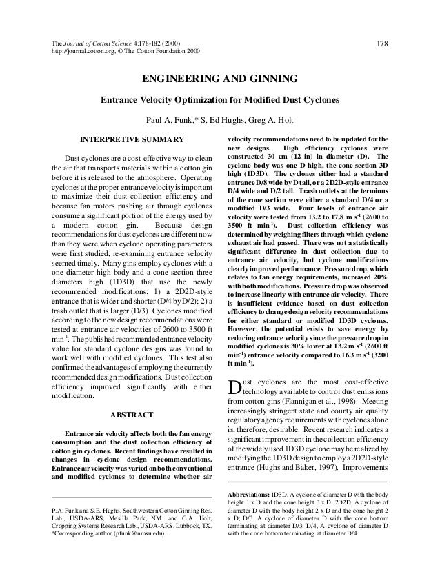 The Journal of Cotton Science 4:178-182 (2000) http://journal.cotton.org, © The Cotton Foundation 2000  178  ENGINEERING A...