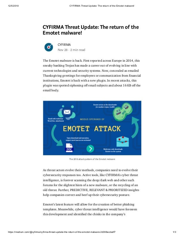 CYFIRMA Threat Update: The return of the Emotet malware!