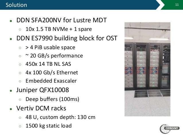 Solution 11 ● DDN SFA200NV for Lustre MDT ○ 10x 1.5 TB NVMe + 1 spare ● DDN ES7990 building block for OST ○ > 4 PiB usable...