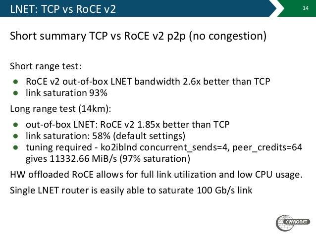 LNET: TCP vs RoCE v2 Short summary TCP vs RoCE v2 p2p (no congestion) Short range test: ● RoCE v2 out-of-box LNET bandwidt...