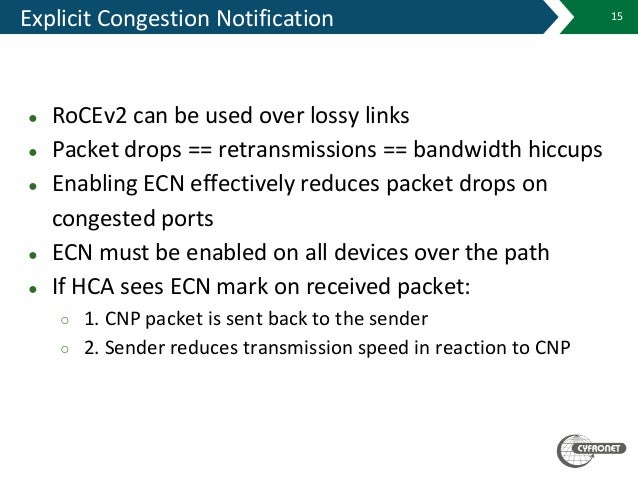 Explicit Congestion Notification ● RoCEv2 can be used over lossy links ● Packet drops == retransmissions == bandwidth hicc...