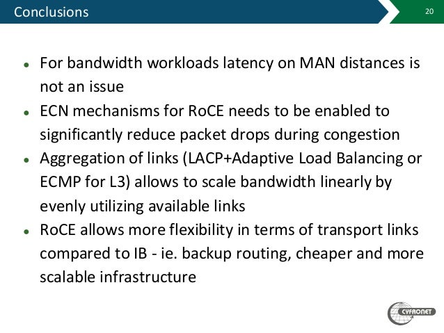 Conclusions 20 ● For bandwidth workloads latency on MAN distances is not an issue ● ECN mechanisms for RoCE needs to be en...
