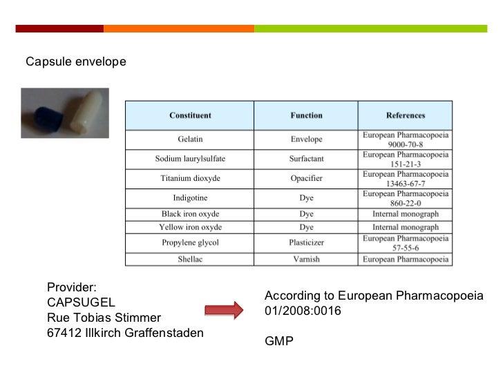 Capsule Envelope Provider CAPSUGEL Rue Tobias Stimmer 67412 Illkirch Graffenstaden According To European Pharmacopoeia 01 20080016 GMP