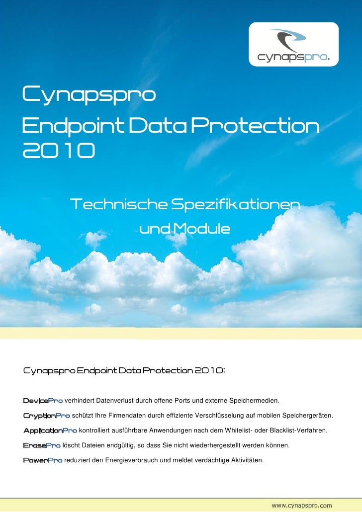 Cynapspro Endpoint Data Protection 2010                Technische Spezifikationen                                      und...