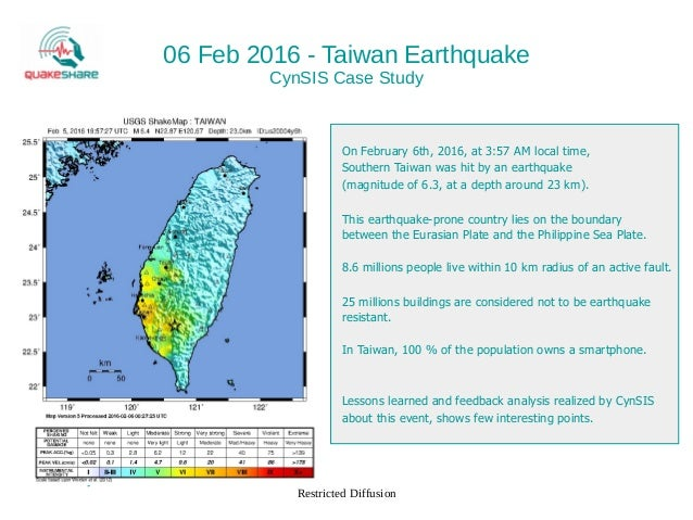 CynSIS 2016 - Taiwan Earthquakes Case Study