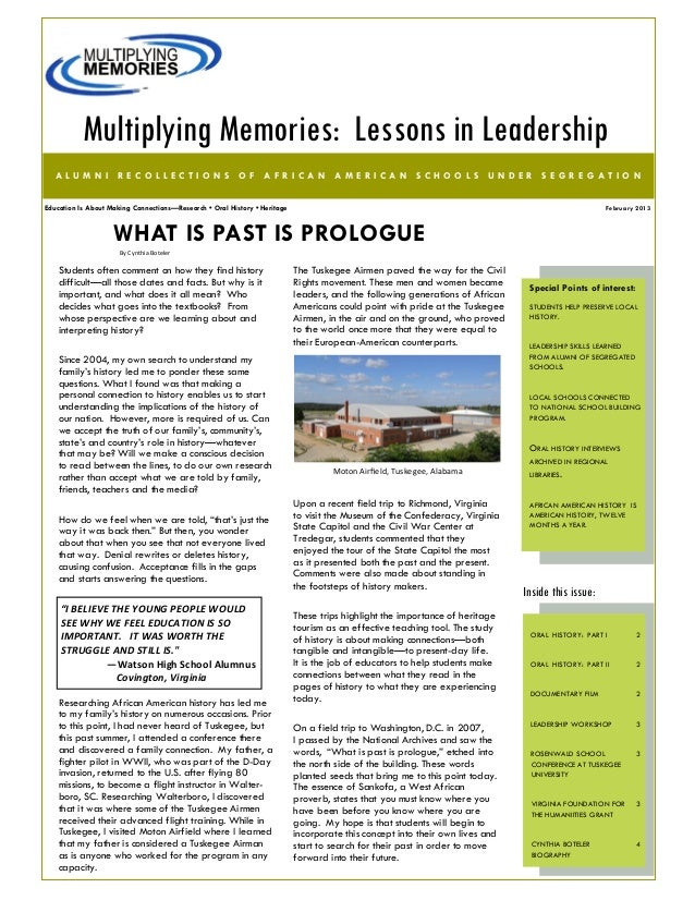 Multiplying Memories: Lessons in Leadership   ALUMNI RECOLLECTIONS OF AFRICAN AMERICAN SCHOOLS UNDER SEGREGATIONEducation ...