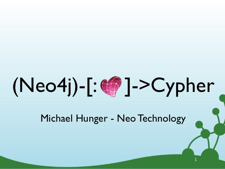 (Neo4j)-[:          ]->Cypher   Michael Hunger - Neo Technology                                     1