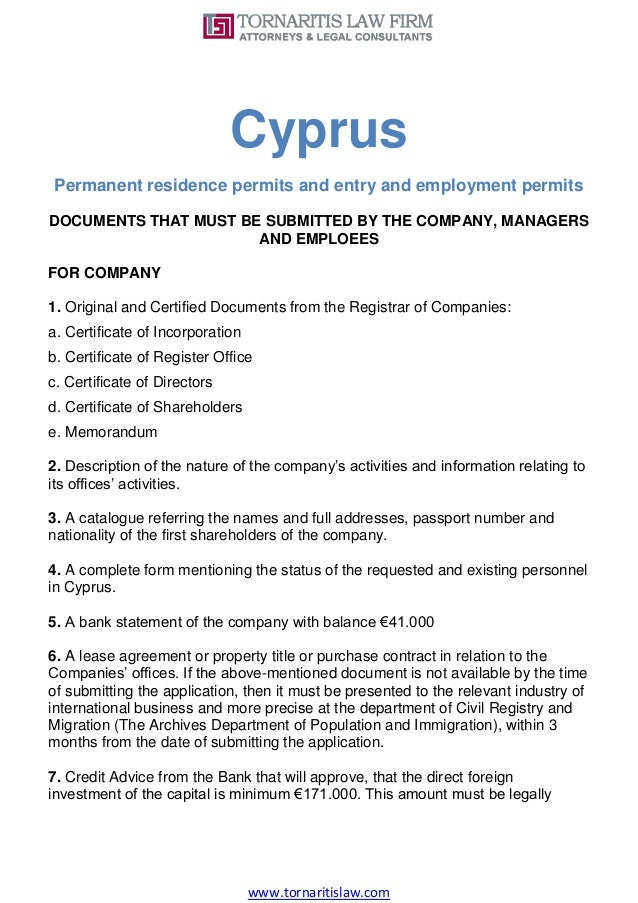 Cyprus Permanent Residence Permits And Entry And