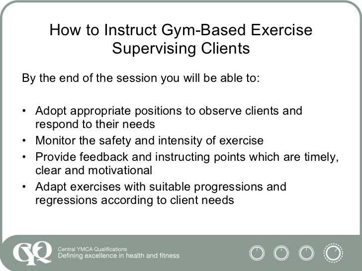 how to plan and instruct gym based exercise with clients