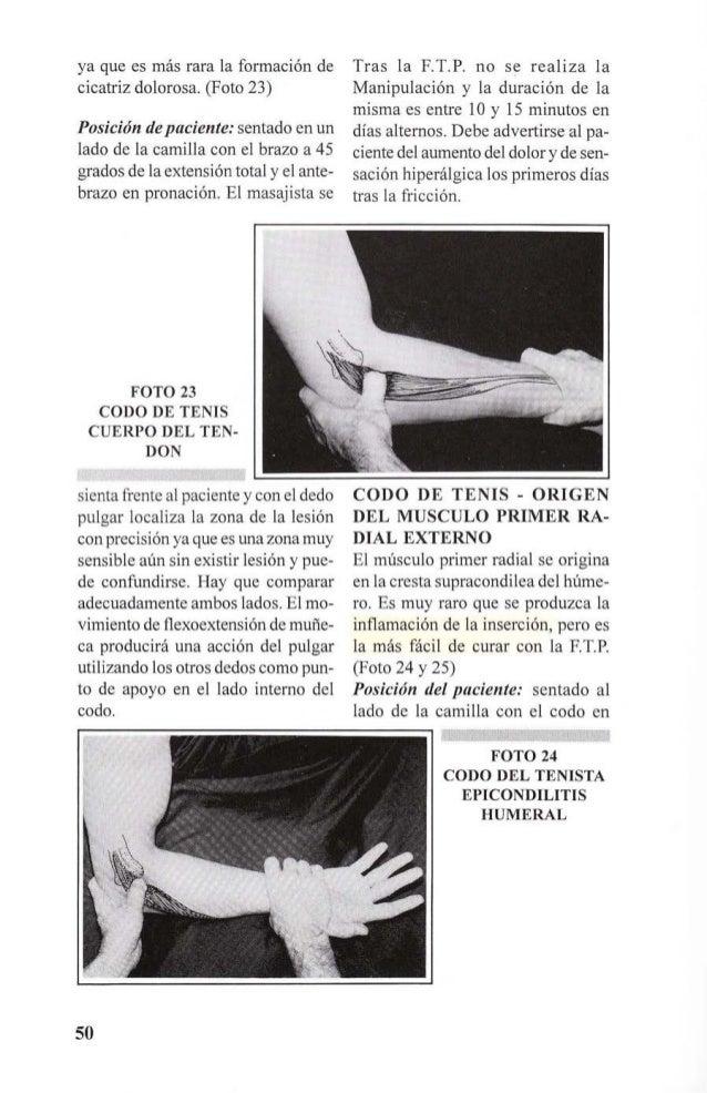 FOTO 25  CODO DEL TENISTA  EPICONDILITIS HUMERAL  flexión de 90 grados y en supinación  completa. El terapeuta coloca el  ...
