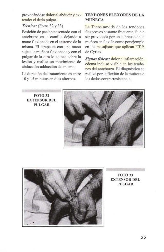 FOTO 34  TENDONES FLEXORES  DE LA MUÑECA  Técnica: (Foto 34 y 35)  Posición de paciente: sentado con el  antebrazo sobre ...