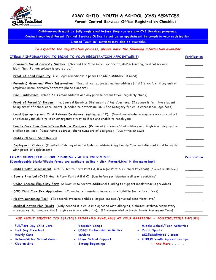 ARMY CHILD, YOUTH & SCHOOL (CYS) SERVICES                                              Parent Central Services Office Regi...