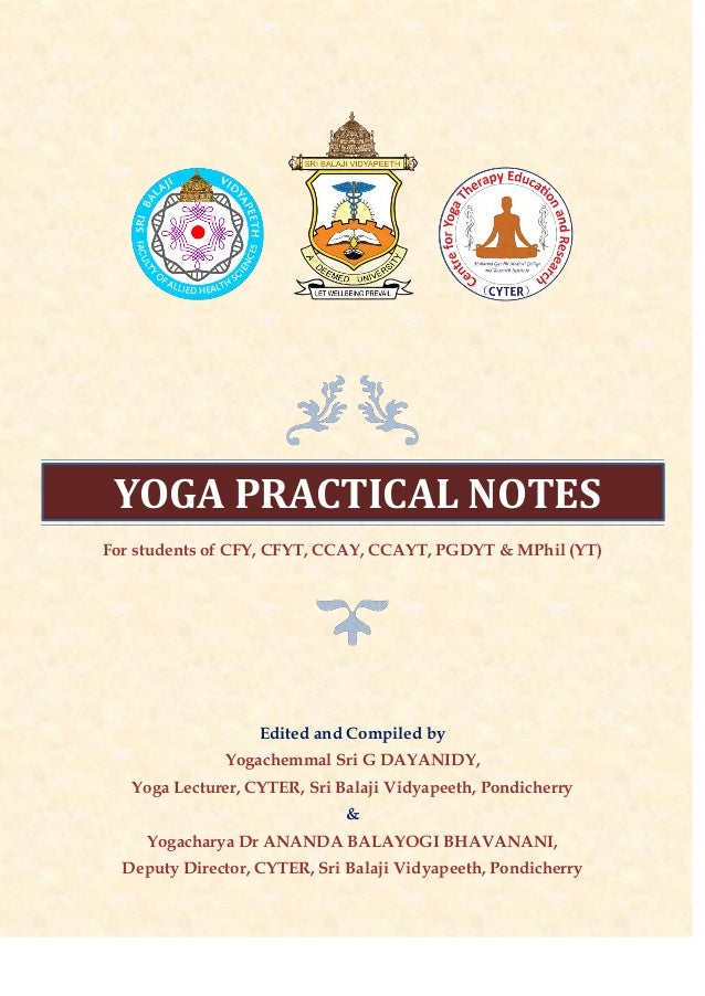 Yoga Practical Notes for Yoga Therapy Courses at CYTER