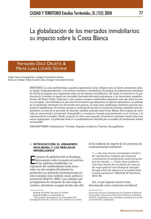 CIUDAD Y TERRITORIO Estudios Territoriales, XL (155) 2008 77  La globalización de los mercados inmobiliarios:  su impacto ...