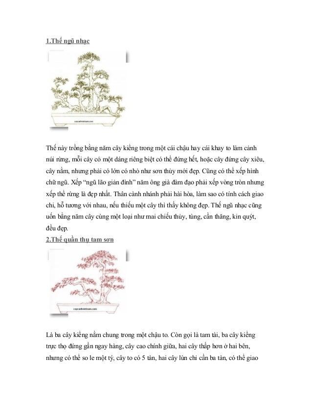 1.Thế ngũ nhạc Thế này trồng bằng năm cây kiểng trong một cái chậu hay cái khay to làm cảnh núi rừng, mỗi cây có một dáng ...