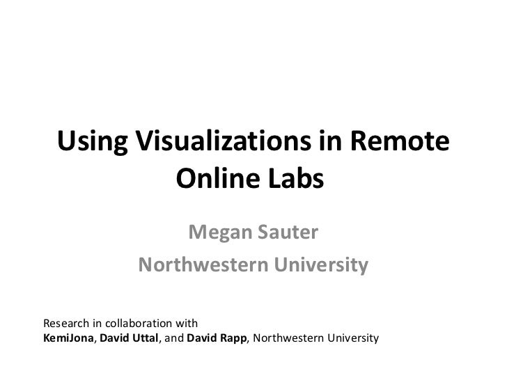Using Visualizations in Remote Online Labs <br />Megan Sauter<br />Northwestern University<br />Research in collaboration ...