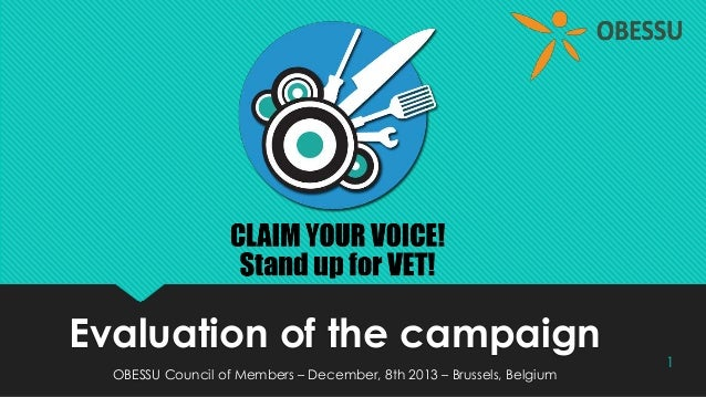 Evaluation of the campaign  OBESSU Council of Members – December, 8th 2013 – Brussels, Belgium  1