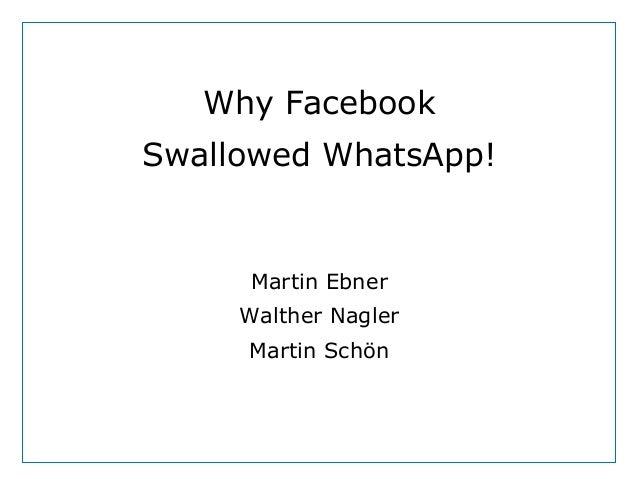 Dept. Social Learning TU Graz June - 2013 Why Facebook Swallowed WhatsApp! Martin Ebner Walther Nagler Martin Schön