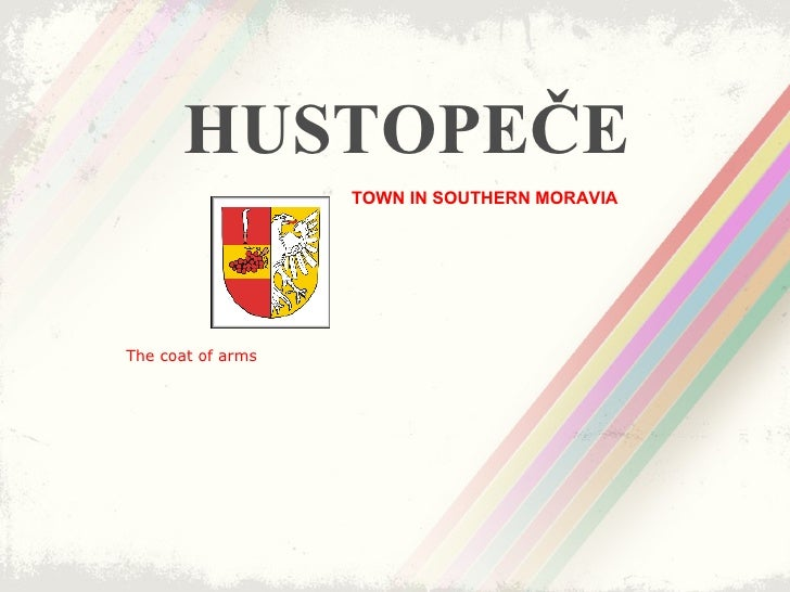 HUSTOPEČE TOWN IN SOUTHERN MORAVIA   The coat of arms