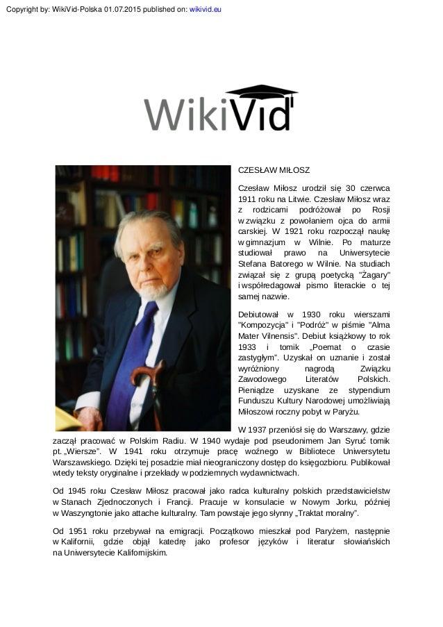Czeslaw Milosz Biografia