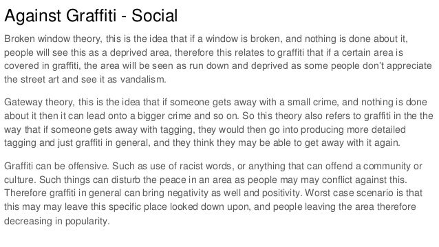 graffiti essay 4 against graffiti social broken window theory