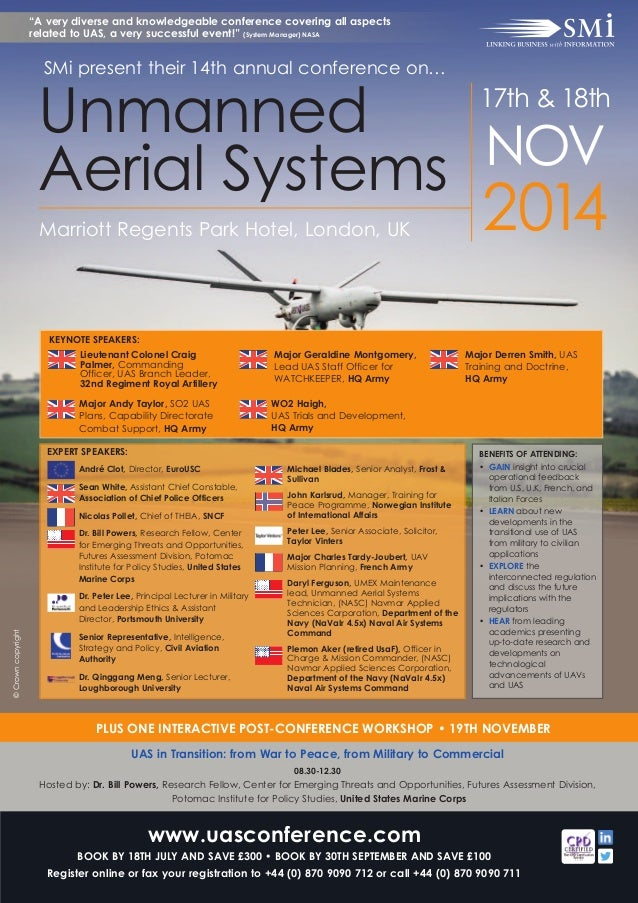 ©Crowncopyright 2014Marriott Regents Park Hotel, London, UK Unmanned Aerial Systems 17th & 18th NOV André Clot, Director, ...