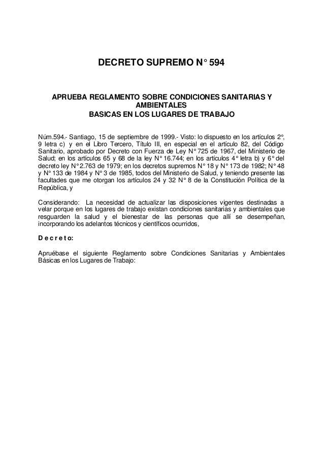 DECRETO SUPREMO N° 594 APRUEBA REGLAMENTO SOBRE CONDICIONES SANITARIAS Y AMBIENTALES BASICAS EN LOS LUGARES DE TRABAJO Núm...