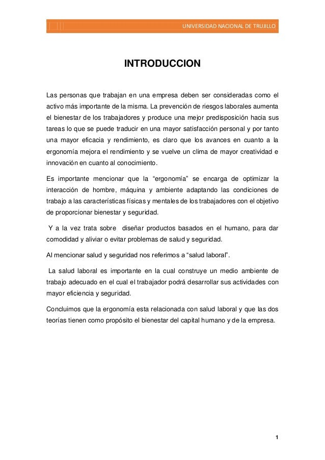 UNIVERSIDAD NACIONAL DE TRUJILLO 1 INTRODUCCION Las personas que trabajan en una empresa deben ser consideradas como el ac...