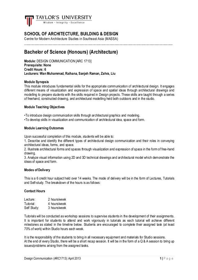 Design Communication (ARC1713): April 2013 1   P a g e SCHOOL OF ARCHITECTURE, BUILDING & DESIGN Centre for Modern Archite...