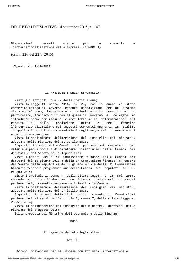 21/10/2015 ***ATTOCOMPLETO*** http://www.gazzettaufficiale.it/atto/stampa/serie_generale/originario 1/21 DECRETOLEGISL...