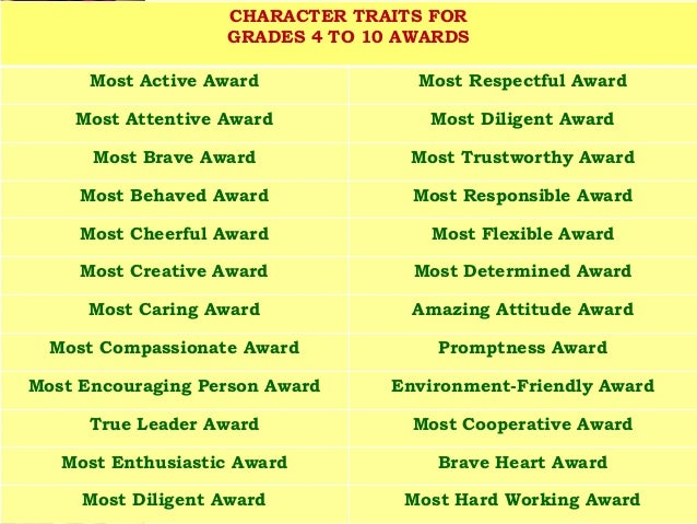 most improved award wording