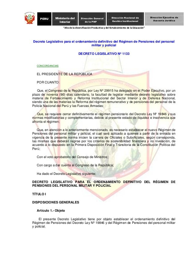 D l 1133 decreto legislativo para el ordenamiento for Decreto ministerio del interior