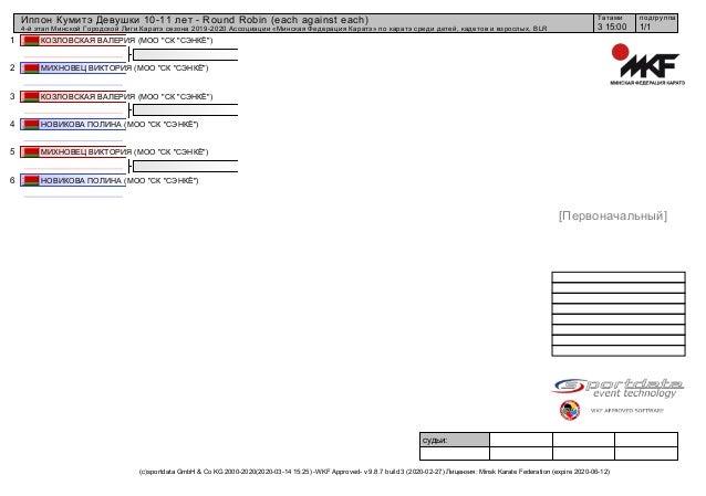 1 2 3 4 5 6 судьи: (c)sportdata GmbH & Co KG 2000-2020(2020-03-14 15:25) -WKF Approved- v 9.8.7 build 3 (2020-02-27) Лицен...