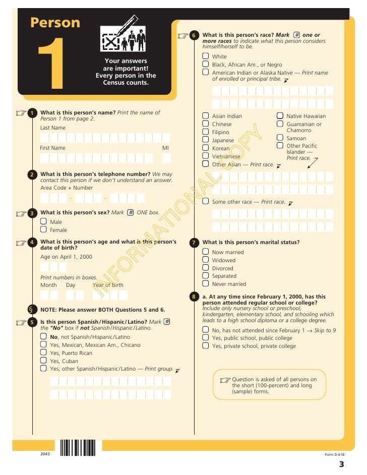 US Census 2000 Long Form Slide 3