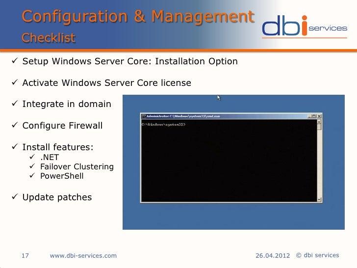 Windows Server Core : environnement pour SQL Server 2012
