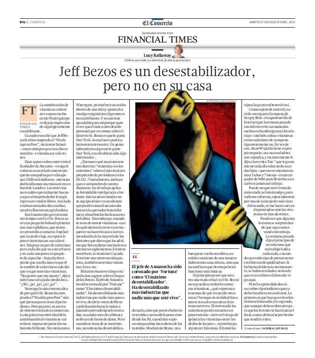 B16. EL COMERCIO MARTES 13 DE AGOSTO DEL 2013 Lacombinaciónde vitaminas-calceti- nes-esposanofue comoWatergatepe- rodejala...