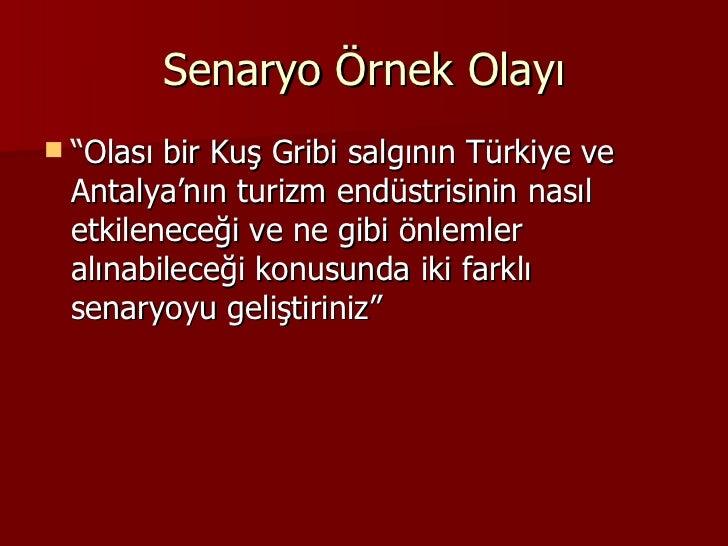 """Senaryo Örnek Olayı <ul><li>"""" Olası bir Kuş Gribi salgının Türkiye ve Antalya'nın turizm endüstrisinin nasıl etkileneceği ..."""