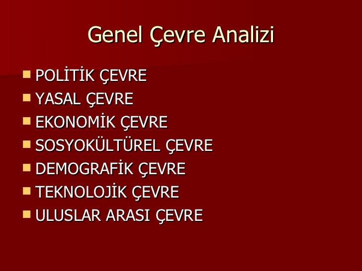 Genel Çevre Analizi <ul><li>POLİTİK ÇEVRE </li></ul><ul><li>YASAL ÇEVRE </li></ul><ul><li>EKONOMİK ÇEVRE </li></ul><ul><li...