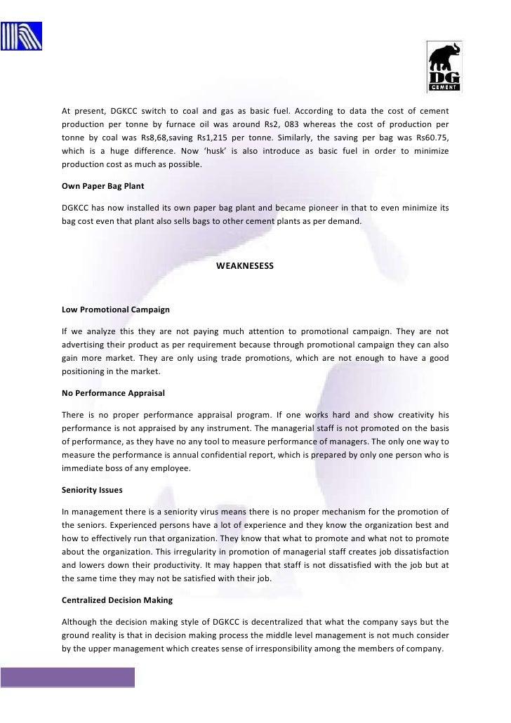 D g cement internship report