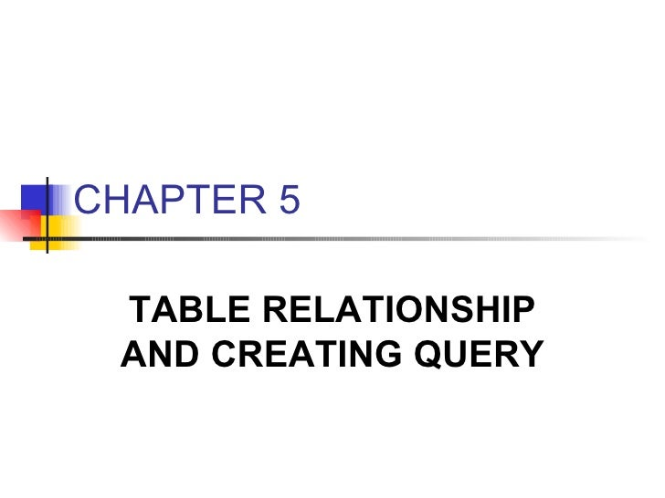 CHAPTER 5 TABLE RELATIONSHIP AND CREATING QUERY