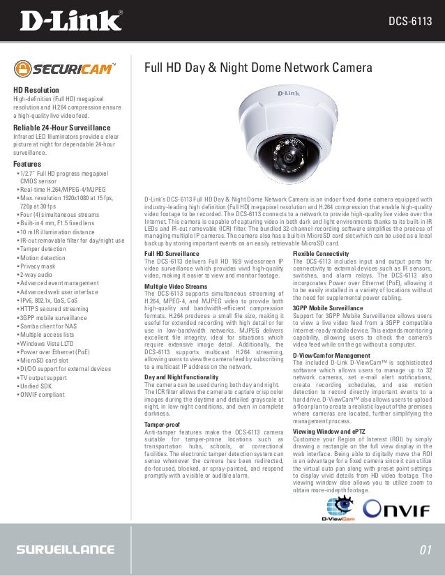 DCS-6113                                              Full HD Day & Night Dome Network CameraHD ResolutionHigh-definition ...