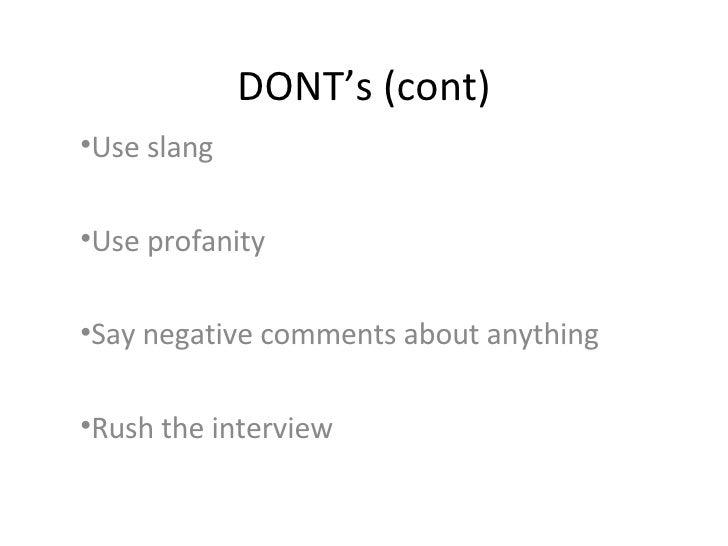 D O'S And D O N T'S Of Job Interview Etiquette