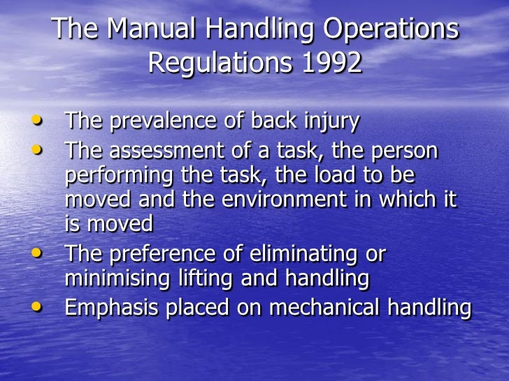definition manual handling operations regulations 1992