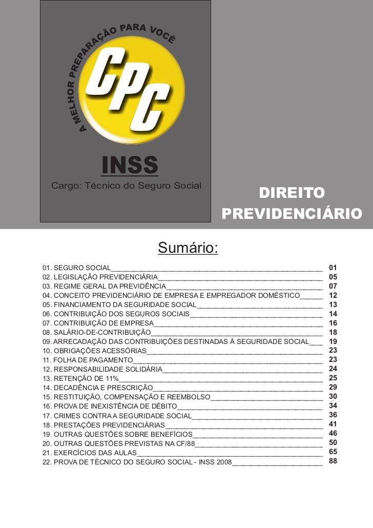 INSS  Cargo: Técnico do Seguro Social                                                 DIREITO                             ...
